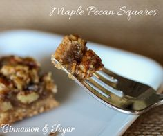 Gooey maple filling surrounding crunchy, buttery pecans on top of a pecan based shortbread crust. Rich and satisfying Maple Pecan Squares are easy to make.