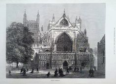 1873 PRINT EXETER CATHEDRAL