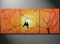 Birds in Tree Branch Painting 48 x 20 Large Art canvas by OritArt, $199.00