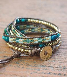 Green stone mix Wrap bracelet with Seed beaded, Boho Wrap Bracelet, Beadwork bracelet ✧ Length : 82cm with adjustment. ✧ Closure : Button ✧ Fits a 6 to 7 inch wrist wrapped 5 times. . PLEASE NOTE : The handcrafted nature of this product will produce minor differences in design, sizing and