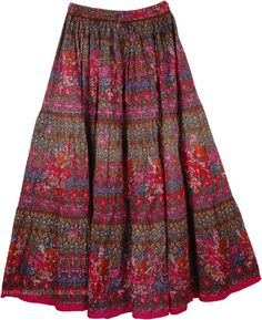 Poppy Floral Cotton Print Long Skirt