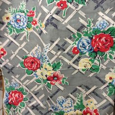 1950's fabric in grey - www.donnaflower.com