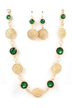 Manuela Necklace Set in Emerald