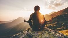 Photo about Man meditating yoga at sunset mountains Travel Lifestyle relaxation emotional concept adventure summer vacations outdoor harmony with nature. Image of calm, health, landscape - 92761128 Frases Zen, Jorge Paulo Lemann, Reiki, Meditation Techniques For Beginners, Gym Douce, Online Meditation, Zen Meditation, Benefits Of Sports, Sun Tzu