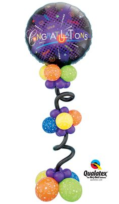 """This super-sized #graduation #balloon design features a 36"""" Microfoil and fun Curly 260Qs."""