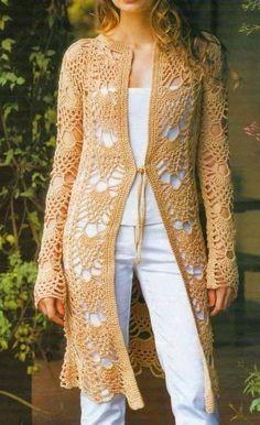 Crochet suéteres: cordón del ganchillo de la rebeca del patrón con estilo libre -