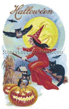 Witch on Broomstick ~ Vintage Halloween ~ Counted Cross Stitch Pattern #StoneyKnobFarmHeirlooms #CountedCrossStitch