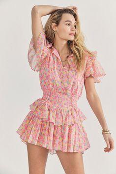 Vintage 80s Red Floral Viscose Summer Dress Button up Ruffle Dress Short Sleeve Mini Dress Hipster Festival Dress Gift for Her Medium Size