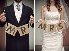 de Lovely Affair: CREATE THIS: photo inspired DIY challenge: Mr. & Mrs. Wedding Banner