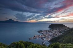 The beautiful island of Faial in Portugal (Azores) at night