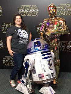 Dawn Cullo with R2-D2 and C3-PO - Star Wars Press Event - #StarWarsEvent