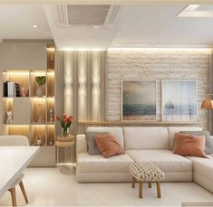 41 Ideas apartment living room decor beige couch for 2019 Beige Living Rooms, Chic Living Room, Living Room Sofa, Home Living Room, Apartment Living, Interior Design Living Room, Living Room Designs, Living Room Decor, Sala Grande