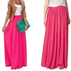 Long Skirt Elegant Style Women Pastel Jupe Pleated Chiffon Maxi Skirts