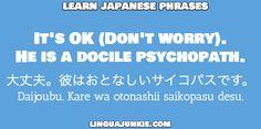 大丈夫。彼はおとなしいサイコパスです。  / Daijoubu. Kare wa otonashii saikopasu desu. / It's OK (Don't worry).  He is a docile psychopath. / learn japanese phrases / linguajunkie.com