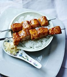 Salmon kebabs in a sticky soy glaze are great for barbecues and make a welcome change from the usual bangers and burgers