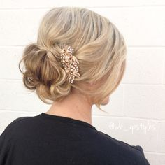 Soft wedding updo. Low loose updo. #wb_upstyles for more hair inspiration check out Instagram @wb_upstyles