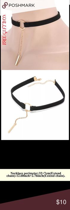 Choker collar velvet black chain charm stylish Brand new black velvet collar choker.  Sizes in pics.  Comes with a free red elegant gift box.  Remember to bundle and save.  Thank you. Jewelry Necklaces