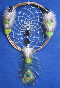 "Peacock Black Agate Dreamcatcher 6"" Native American Bellamino Acoma Pueblo   eBay"