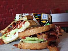 Goat cheese, bacon, cucumber, avocado sandwich