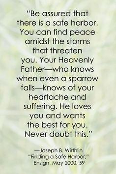 LDS Peace Quote | Elder Joseph B. Wirthlin sprinklesonmyicecream.blogspot.com