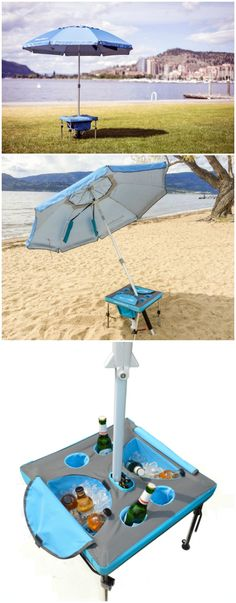 The fastest, easiest and sturdiest way to set up your beach umbrella. It takes less than 30 seconds, stands up in strong winds and provides drink holders, ice cooler and storage for your stuff. Beach Pool, Beach Fun, Outdoor Fun, Outdoor Camping, Beach Umbrella Anchor, Materiel Camping, Beach Hacks, Beach Items, Cool Inventions