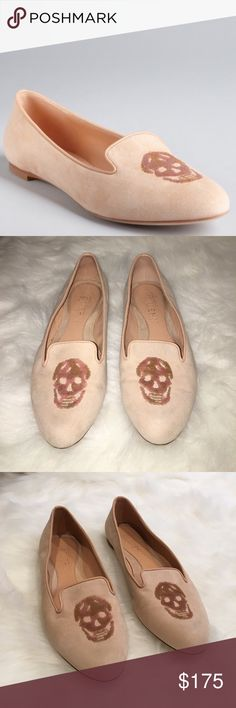 Alexander McQueen Skull flats Blush pink sequin skull loafer flats by Alexander McQueen. Size 8 / 38. Little wear. Authentic. Alexander McQueen Shoes Flats & Loafers