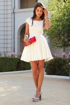I love this dress with red pumps.