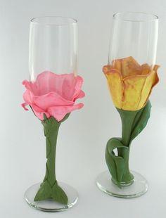 Floral Champagne Flutes: