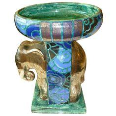 Signed Edourd Cazaux French Deco Glazed Porcelain Centerpiece Bowl