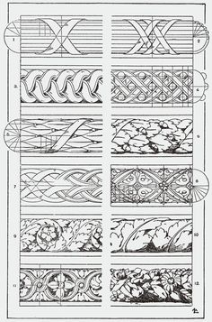 """You could use this in your Zentangle practice. From, """"A Handbook of Ornament"""". 1898 by Franz Sales Meyer. Tangle Doodle, Doodles Zentangles, Zentangle Patterns, Doodle Art, Baroque Frame, Illustration Art Nouveau, Ornament Drawing, Leather Carving, Carving Designs"""