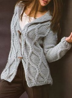 Saco con trenzas (chunky cabled cardigan)