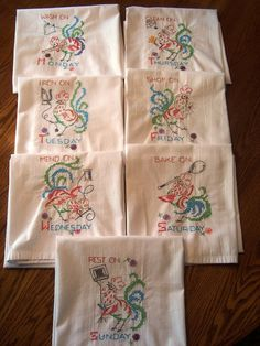 Vintage Large Hand Embroidered Days Of The Week Flour Sack Tablecloth Towel  | Towels, Embroidery Applique And Embroidery