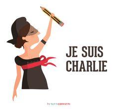Je suis Charlie by Tutti Confetti http://www.tutticonfetti.com/lamina-je-suis-charlie-hebdo  Artículo y recopilación de viñetas en: http://catpeople.es/porque-el-miedo-no-es-el-mensaje-je-suis-charlie/