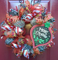 Christmas Wreath - Christmas Deco Mesh Wreath - Merry Christmas Wreath - Chalkboard Christmas Wreath - Chalkboard Ribbon Wreath - Ornament by MsSassyCrafts on Etsy https://www.etsy.com/listing/256525744/christmas-wreath-christmas-deco-mesh