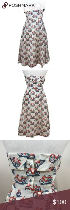 Anthro Postmark Bicycle Lane Strapless Dress 4 Anthropologie Postmark Bicycle Lane dress, size 4. Strapless sweetheart neckline. Off white color with adorable bicycle print. Concealed zip on side. EUC - no flaws noted.   pit to pit: 16 waist: 13.5 length: 32.5 Anthropologie Dresses Strapless