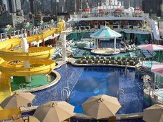 Norwegian Gem's Pool Deck with Twisty Slide- Norwegian Cruise Line - NCL-  Cruises from New York