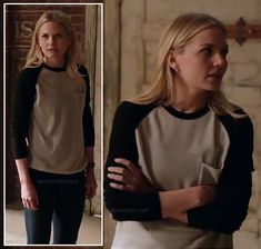 Emma's black and white baseball tee on Once Upon a Time.  Outfit Details: http://wornontv.net/13495/ #OnceUponATime