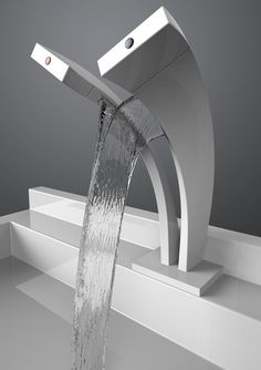 A tap with two streams of water from both the hot and cold water - creating a fun little waterfall. #faucet #bathroom #YankoDesign