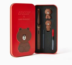 Line Friends x Lamy Brown Fountain Pen Red Limited Edition Sealed Safari Bear #LineFriendsxLamy