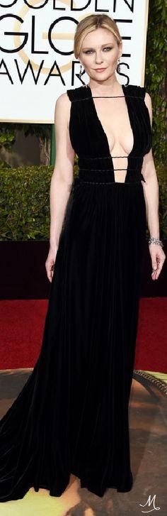 2016 Golden Globes Red Carpet Arrivals   Kirsten Dunst in Valentino Couture.