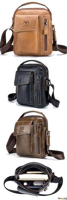 Bullcaptain Genuine Leather Business Messenger Bag Vintage Crossbody Bag For Men Leather Men, Leather Wallet, Men's Totes, Back Bag, Leather Design, Leather Accessories, Online Bags, Leather Working, Hats For Men