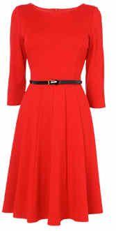 Poppy red skater dress for Winter.