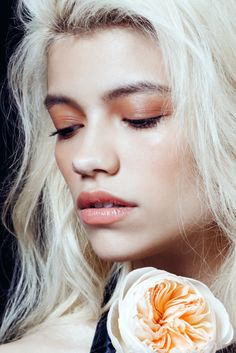 Peachy lids and lips. Beauty In Bloom: 5 Spring Makeup Looks #refinery29  http://www.refinery29.com/spring-makeup#slide4