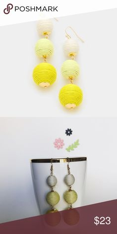 """Triple Threaded Ball Les Bon Bon Earrings - YELLOW These trendy ombré crispin earrings are fun and light weight, making it easy to turn a simple outfit into festive. Delicate gold detail and fish hook closures. Size : 0.8"""" X 3"""".Oscar de la Renta and Baublebar have similar pairs but are much more expensive! Other colors available and will bundle any two for 15% off! Jewelry Earrings"""