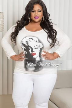 Final Sale Plus Size Marilyn Monroe Long Sleeve Top with Shredded Back in Off White