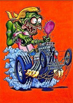 """Rat Fink Ed """"Big Daddy"""" Roth - Girl Fink- yeaaaaaaa buddy Rat Fink, Weird Cars, Cool Cars, Klimt, Ed Roth Art, Cartoon Rat, Monster Car, Garage Art, Rat Rods"""