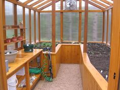"""Cedar Greenhouse with Potting Bench It's an all cedar construction with a 6""""X6"""" treated timber base, stainless steel support brackets, screws and nails, 8mm polycarbonate, twin wall panel sides and roof, 16"""" thermostatically controlled fan to maintain the temp. at 85°F, planter boxes 30"""" high with a center aisle, 84"""" X 24"""" potting bench with a faucet, sink, upper and lower shelves and potting area with a dirt collection box and a timer controlled drip system. I laid a ¼"""" steel mesh under the…"""