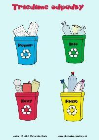 triedime odpadky - papier, sklo, plasty, kov