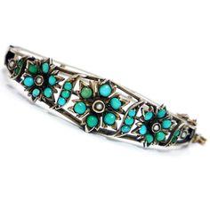 RARE Antique Victorian Turquoise Pearl Silver Bracelet