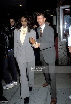 Iman and David Bowie during 'La Femme Nikita' Premiere at Beverly Hills in Beverly Hills, California, United States.